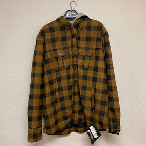 Mens Flannel Removable Liner Hoodie Jacket